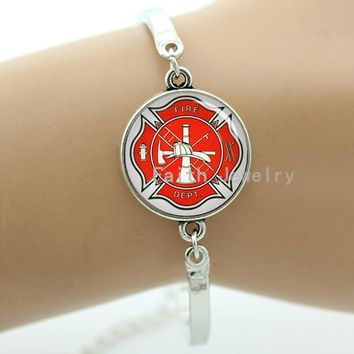 Maltese cross firemen symbol of personalized firefighter bracelet