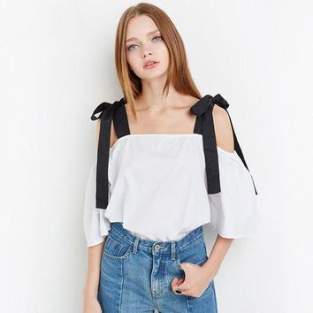 DCCKXT7 Fashion Off Shoulder Short Sleeve Bow Strap Shirt Women Loose Tops