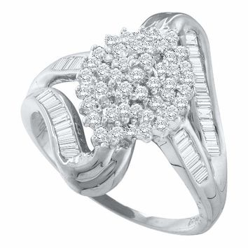 10kt White Gold Women's Round Diamond Cluster Swirl Shank Baguette Ring 1-2 Cttw - FREE Shipping (USA/CAN)