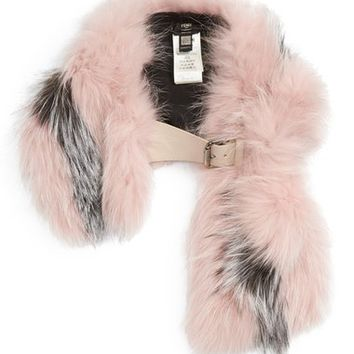 Fendi Leather Trim Bicolor Genuine Fox Fur Stole | Nordstrom