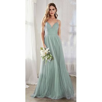 Long A-Line Tulle Dress Sage Green Gathered Sweetheart Neckline Pleated Finish