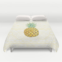 Pineapple on Aztec Duvet Cover by Kate