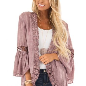 Dusty Mauve Open Front Bell Sleeve Kimono with Lace Trim
