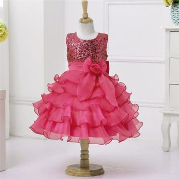 Brand Flower Girls Birthday Dress Sequined Mesh Girl Clothing Sleeveless Princess Dresses Girls Costume Kids Wedding Party Wear