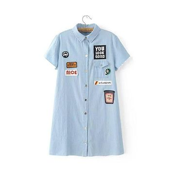 Seven nine -47-6062 and the wind personality BADGE PATCH Polo denim dress. 0623