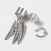 Silver Ear Cuffs with Feathers Set of 3 – Claire's