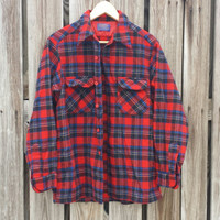 Vintage 1970s Pendleton Red Plad Flannel Shirt - Tartan Plaid - Lumberjack