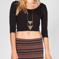 Full Tilt Solid Womens Crop Top Black  In Sizes