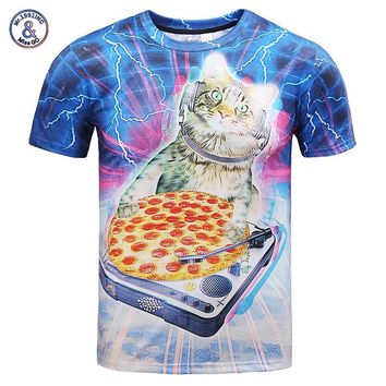 Mr.1991INC Hip Hop street wear T-shirt men/women 3d t shirt print lighting DJ cat eating pizza summer tops tees cool tshirt