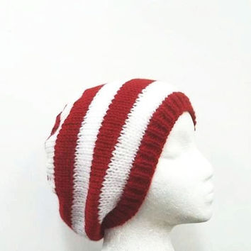 Beanie hat red white stripes hand knitted - free shipping  5177
