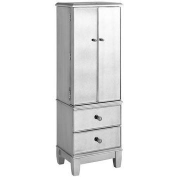 Hayworth Mirrored Silver Jewelry Armoire