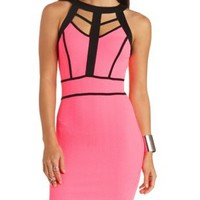 Caged Neon Color Block Bodycon Dress by Charlotte Russe - Black Combo