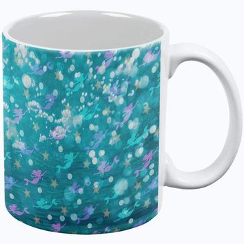 DCCKJY1 Mermaids Pearls and Starfish Pattern All Over Coffee Mug