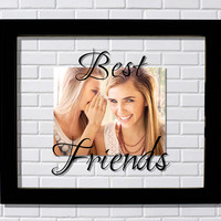 Best Friends Floating Picture Frame - Bestie Gift BFF Modern Minimalist