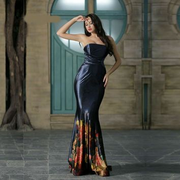 Elegant Evening Dresses for Women Floral Print Strapless Simple Mermaid Long Prom Party Gowns