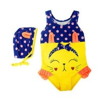 Vintage Inspired Girls Clothes Vindie Baby Swimsuit Vintage One Piece Swimsuit Bathing Suit Yellow Blue Rabbit | Vindie Baby
