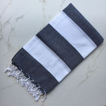 Bask x Turks Black/White Turkish Towel