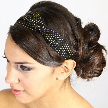 black and gold headbands, polka dot bow headband, bow headbands, hair bows