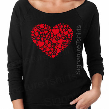 Valentines Day Gift - womens pullover - Red Heart Slouchy Sweatshirt - Off Shoulder Sweater - Wedding gift - Wife gift - Groom - Bride gift