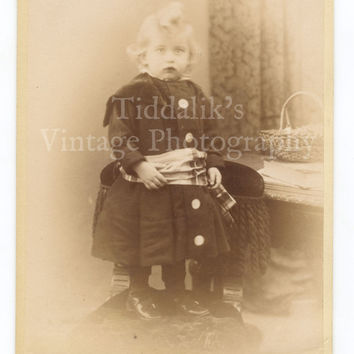 Cabinet Card Photograph of a Young Victorian Girl Standing on a Chair - Murison Cape Town South Africa