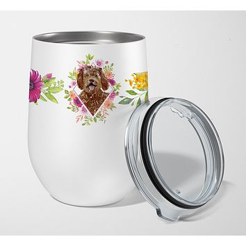 Labradoodle Pink Flowers Stainless Steel 12 oz Stemless Wine Glass CK4228TBL12