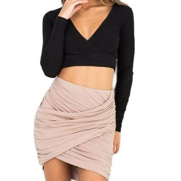 Black,Pink,Gray Fashion Apparel Pencil Skirt Women 8 Colors High Waist Ruched Mini Skirt Faldas Sexy Cross Fold Bodycon Skirts