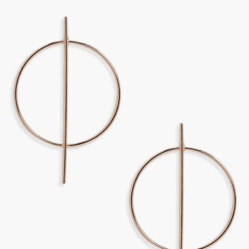 Holly Circle And Bar Hoop Earrings | Boohoo