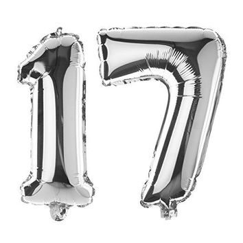 17 Number Balloons - 40 Inch Silver