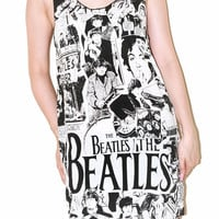 The Beatles White Women Tank Top Singlet Tunic Vest Sleeveless Art Indie Pop Rock T-Shirt Size M