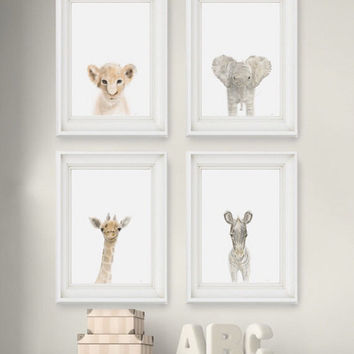 Safari Nursery Prints Set of 4, Nursery wall art