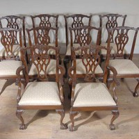 Canonbury - XL English Mahogany Victorian Dining Table & Set Chippendale Chairs