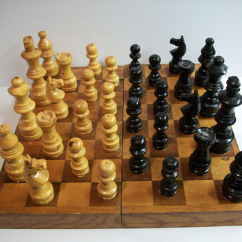vintage chess set . vintage wooden chess set . hand carved games pieces . vintage chess game . large chess game . rustic game decor