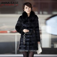 Winter Women's Faux Rabbit Fur Coat Fox Fur Collar Warm Thicken Plus Size S-XXXL-5XL Faux Fur Coats Overcoat Hooded