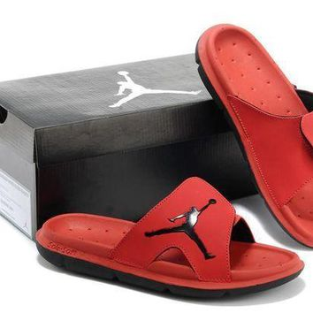 PEAPGE2 Beauty Ticks Nike Air Jordan Red Casual Sandals Slipper Shoes Size Us 7-13