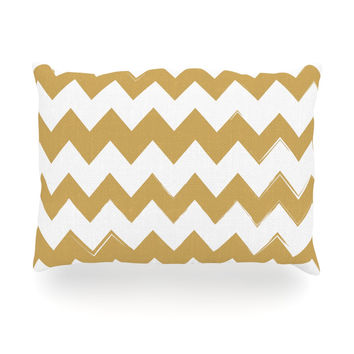 "KESS Original ""Candy Cane Gold"" Chevron Oblong Pillow"