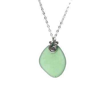 Ocean Waves Sea Glass Necklace with Gift Box