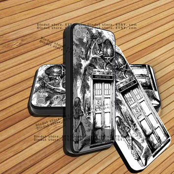 iphone 5 case,iphone 4/4s case,Alice In Wonderland and Cat on doctor who box,accesories,samsung s3 case,samsung s4 case,cover