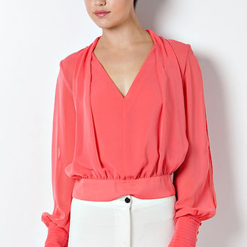 Milena Long Sleeves Blouse - Coral