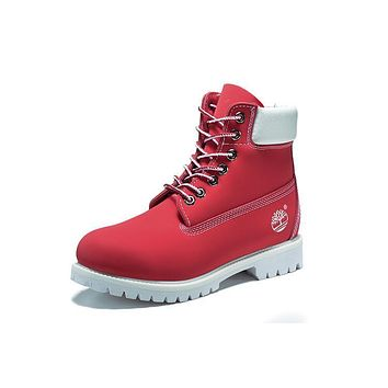 Timberland 10061 Leather Lace-Up Boot Men WoMenshoes Red White