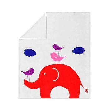Elephant and Little Birdies Fleece Blanket