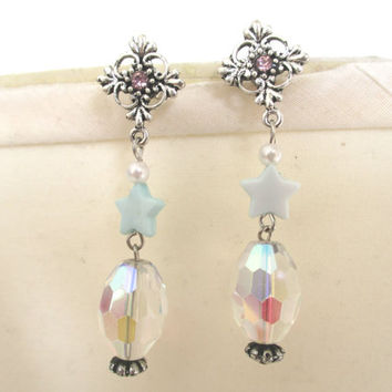 Magical Girl Snowflake & Star Earrings - Iridescent earrings