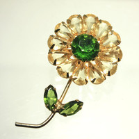 Green Topaz Crystal Vintage Flower Brooch Pin