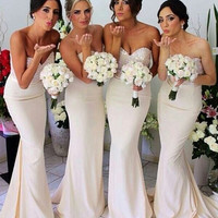 Ready To Ship Sweetheart Mermaid Chiffon Ivory Bridesmaid Dresses Vestido Para Madrinha Vestido De Dama De Honra Free Shipping