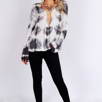Tie Dye Criss Cross Wrap Top Grey
