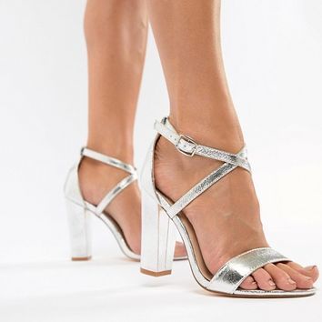 Glamorous Silver Metallic Cross Strap Block Heel Sandals at asos.com