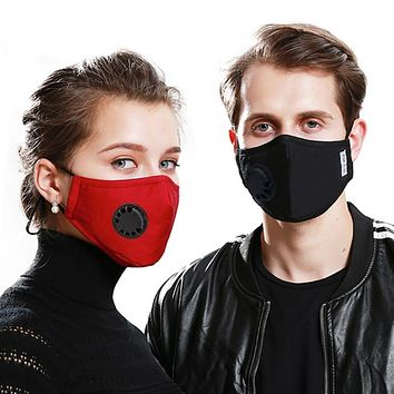 Cotton Face Mask With  Valve Breathing Mask Activated Anti-dust PM 2.5 Dustproof  Carbon Filter Respirator Popular Mouth-muffle