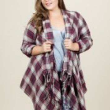 Plaid Fringe Jacket - Plus Size
