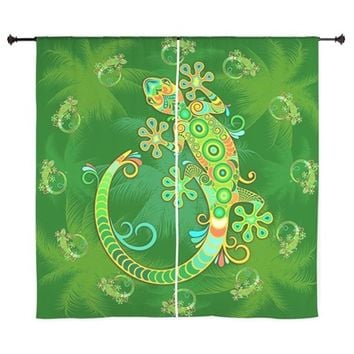 GECKO LIZARD TATTOO STYLE CURTAINS