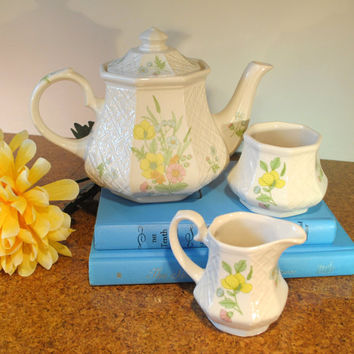 Sadler Teapot Set with Embossed Trellis, Flowers, Matching Cream and Sugar