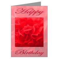 Happy Birthday Dianthus Red Flower Greeting Card on CafePress.com